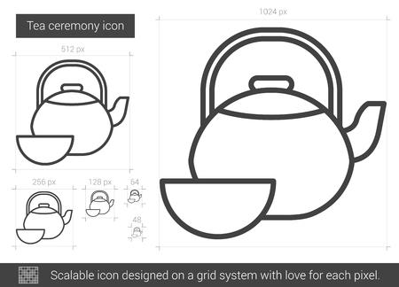 Tea ceremony line icon. Illustration