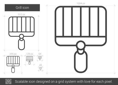 grill vecteur icône de la ligne isolé sur fond blanc. icône de la ligne grill pour le site web de l & # 39 ; icône ou un usage utilisé sur la grille de la grille de la grille