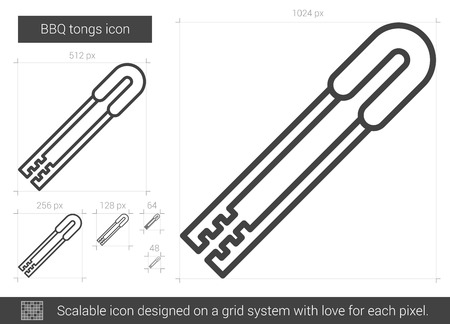 metal grid: BBQ tongs vector line icon isolated on white background. BBQ tongs line icon for infographic, website or app. Scalable icon designed on a grid system. Illustration