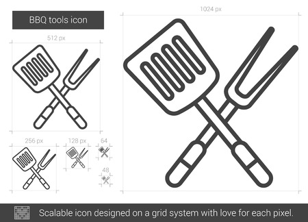 drawn metal: BBQ tools vector line icon isolated on white background. BBQ tools line icon for infographic, website or app. Scalable icon designed on a grid system.