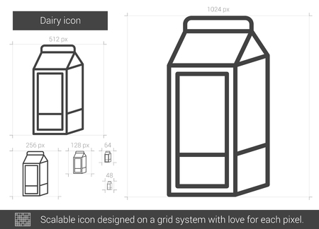 packaged: Dairy vector line icon isolated on white background. Dairy line icon for infographic, website or app. Scalable icon designed on a grid system. Illustration