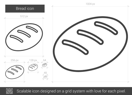 Bread vector line icon isolated on white background. Bread line icon for infographic, website or app. Scalable icon designed on a grid system.