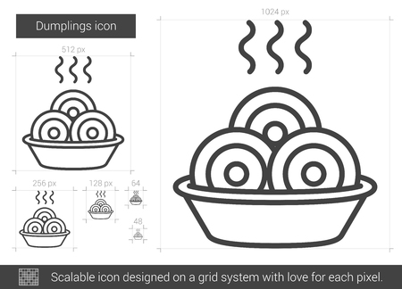 Dumplings vector line icon isolated on white background. Dumplings line icon for infographic, website or app. Scalable icon designed on a grid system.