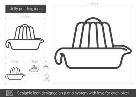 Jelly pudding vector line icon isolated on white background. Jelly pudding line icon for infographic, website or app. Scalable icon designed on a grid system.