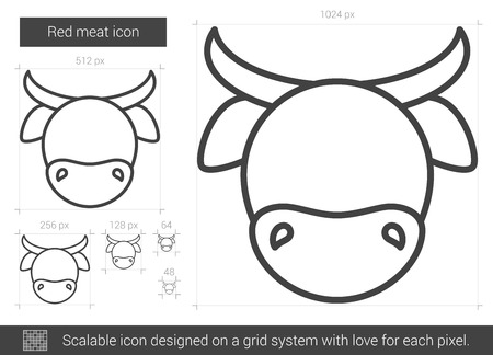 bovine: Red meat vector line icon isolated on white background. Red meat line icon for infographic, website or app. Scalable icon designed on a grid system.