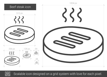 Beef steak line icon.