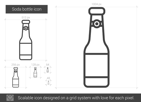 brandy: Soda bottle line icon. Illustration