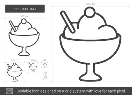 thin ice: Ice cream line icon. Illustration