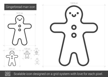 Gingerbread man lijn pictogram.