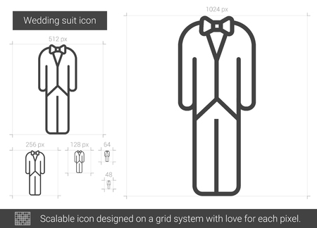Wedding suit vector line icon isolated on white background. Wedding suit line icon for infographic, website or app. Scalable icon designed on a grid system. 矢量图像