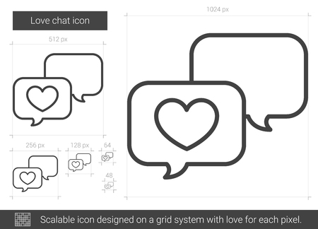 family holiday: Love chat line icon. Illustration