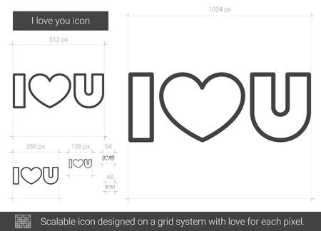 I love you line icon.