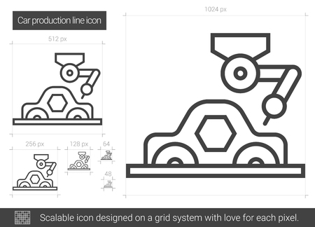 Car production vector line icon isolated on white background.