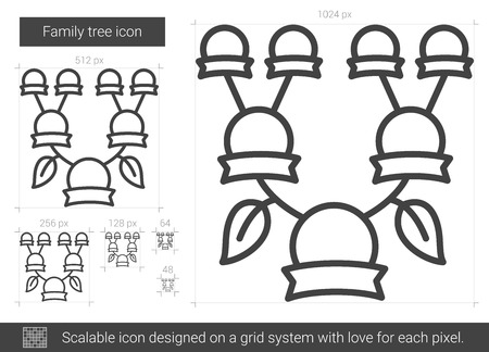 Family tree vector line icon isolated on white background. Illustration