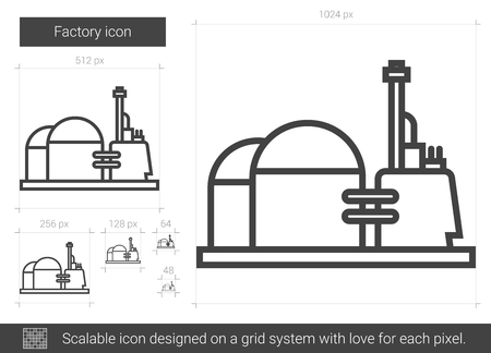 Factory vector line icon isolated on white background. Illustration