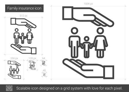Family insurance line icon. Illustration