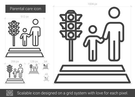 union familiar: Icono de línea de cuidado parental. Vectores