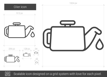 petrochemistry: Oiler vector line icon isolated on white background. Oiler line icon for infographic, website or app. Scalable icon designed on a grid system. Illustration