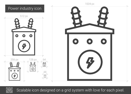Power industry vector line icon isolated on white background. Power industry line icon for infographic, website or app. Scalable icon designed on a grid system. Stock Vector - 80254617
