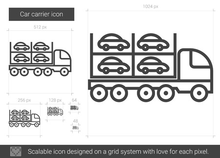 Car carrier vector line icon isolated on white background. Car carrier line icon for infographic, website or app. Scalable icon designed on a grid system.