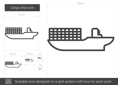 pier: Cargo ship vector line icon isolated on white background. Cargo ship line icon for infographic, website or app. Scalable icon designed on a grid system.