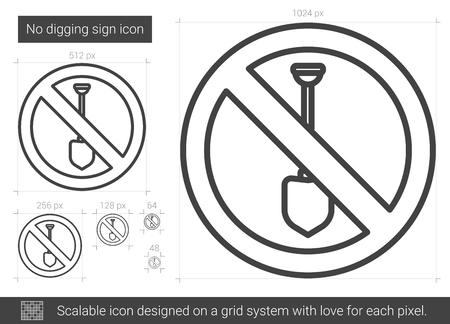 Keine graben Zeichen Vektor Zeile Symbol isoliert auf weißem Hintergrund. Kein grabendes Zeichenzeilensymbol für Infografik, Website oder App. Skalierbares Icon auf einem Rastersystem. Standard-Bild - 80263003