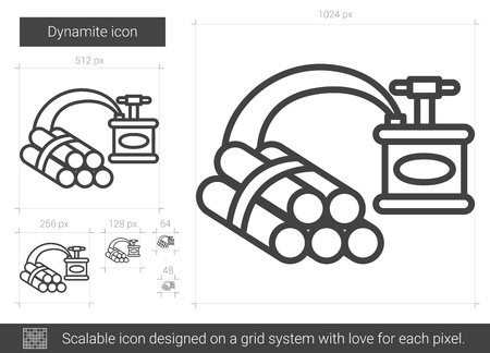 ignited: Dynamite vector line icon isolated on white background. Dynamite line icon for infographic, website or app. Scalable icon designed on a grid system.