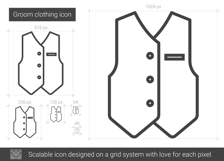 vest in isolated: Groom clothing line icon.