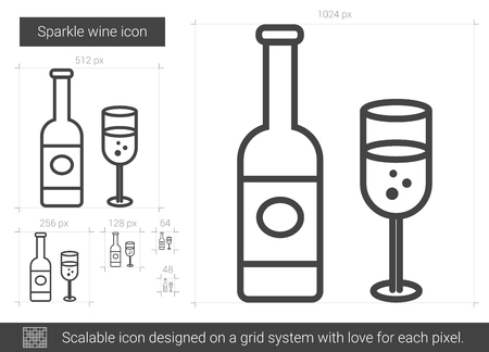 carbonic: Sparkle wine vector line icon isolated on white background. Sparkle wine line icon for infographic, website or app. Scalable icon designed on a grid system.