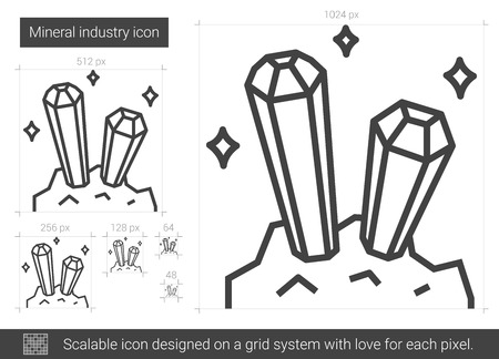 Mineral industry vector line icon isolated on white background. Mineral industry line icon for infographic, website or app. Scalable icon designed on a grid system.  イラスト・ベクター素材