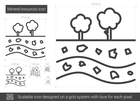layered: Mineral resources vector line icon isolated on white background. Mineral resources line icon for infographic, website or app. Scalable icon designed on a grid system. Illustration
