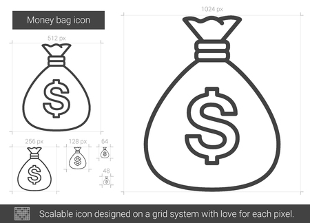 sackcloth: Money bag vector line icon isolated on white background.
