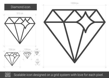 Diamond vector line icon isolated on white background. Diamond line icon for infographic, website or app. Scalable icon designed on a grid system.