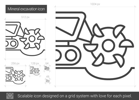 Mineral excavation vector line icon isolated on white background. Mineral excavation line icon for infographic, website or app. Scalable icon designed on a grid system.