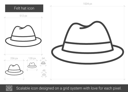 Felt hat vector line icon isolated on white background. Illusztráció