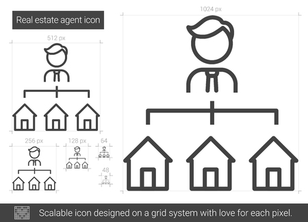 renter: Real estate agent vector line icon isolated on white background. Real estate agent line icon for infographic, website or app. Scalable icon designed on a grid system.