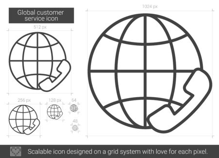 Global customer service vector line icon isolated on white background. Global customer service line icon for infographic, website or app. Scalable icon designed on a grid system. Illustration