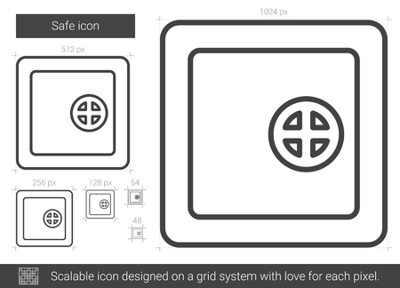drawn metal: Safe vector line icon isolated on white background. Safe line icon for infographic, website or app. Scalable icon designed on a grid system. Illustration