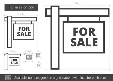 Voor verkoop teken vector lijn pictogram geïsoleerd op een witte achtergrond. Te koop teken lijn pictogram voor infographic, website of app. Schaalbaar pictogram ontworpen op een rastersysteem.