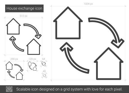 barter system: House exchange vector line icon isolated on white background. House exchange line icon for infographic, website or app. Scalable icon designed on a grid system.