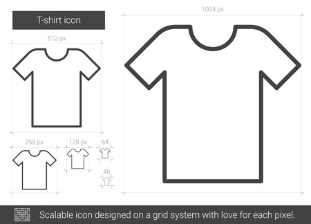 T-shirt vector line icon isolated on white background. T-shirt line icon for infographic, website or app. Scalable icon designed on a grid system. Ilustração