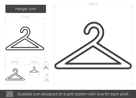 hangers: Hanger vector line icon isolated on white background. Hanger line icon for infographic, website or app. Scalable icon designed on a grid system. Illustration