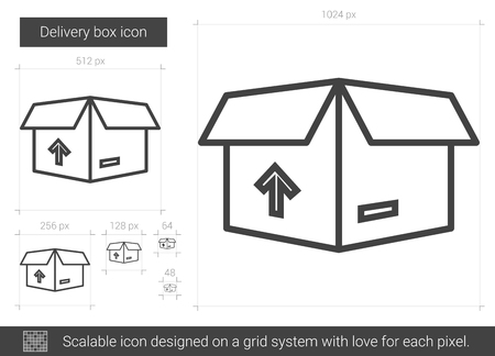 upright: Delivery box line icon. Illustration
