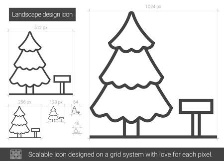 Landscape design line icon.