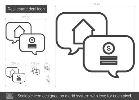 bargains: Real estate deal line icon. Illustration