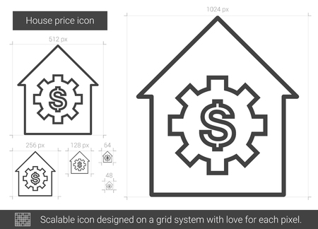 House price line icon.