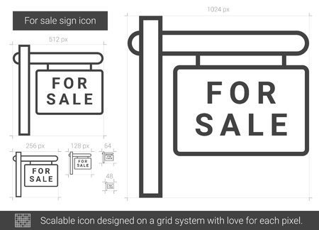 For sale sign line icon. Ilustrace
