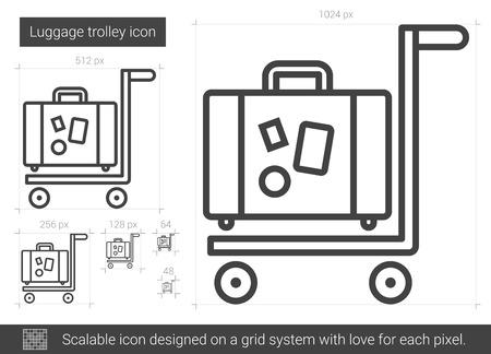 Luggage trolley line icon.