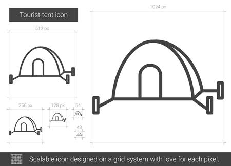 Tourist tent line icon. Illustration