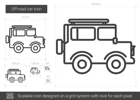 family van: Off-road car line icon.